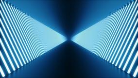 3D ha avvolto l'animazione, corridoio blu futuristico della stanza dell'estratto senza cuciture, tunnel con le luci al neon Lampa royalty illustrazione gratis