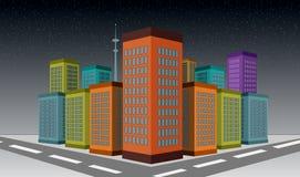 3D ha illustrato le costruzioni del grattacielo della città con la scena delle precipitazioni nevose Fotografia Stock Libera da Diritti