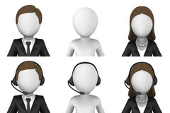 3d ha reso gli avatar Centro di sostegno Immagini Stock