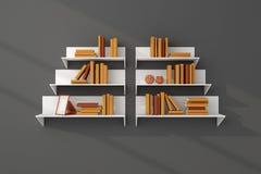 3d ha reso gli scaffali per libri Immagini Stock Libere da Diritti