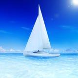 3D ha reso il concetto dell'estate di svago del mare della barca a vela Fotografia Stock