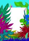 3D ha reso il modello tropicale della cartolina d'auguri delle foglie Fotografie Stock Libere da Diritti