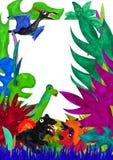 3D ha reso il modello tropicale della cartolina d'auguri delle foglie con il dinosaurus Fotografia Stock Libera da Diritti