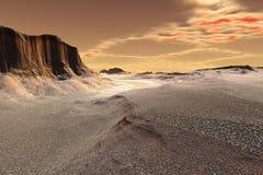 3d ha reso il pianeta dello straniero di fantasia Rocce e cielo Fotografia Stock