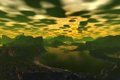 3d ha reso il pianeta dello straniero di fantasia Rocce e tramonto illustrazione vettoriale