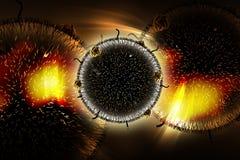 3d ha reso il virus di HIV nella circolazione sanguigna a colori il fondo illustrazione vettoriale