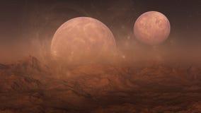 3d ha reso l'arte dello spazio: Misty Alien Planet Fotografie Stock