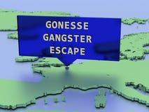 3D ha reso l'autoadesivo della mappa, coperture Francia di caccia all'uomo dopo che il condannato sfugge alla prigione nell'assal Fotografia Stock