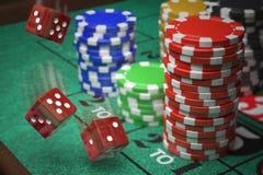 3D ha reso l'illustrazione dei chip del casinò e dei dadi Concetto di gioco Fotografia Stock