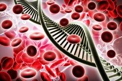 3d ha reso l'illustrazione di Digital di DNA e dei globuli a colori il fondo illustrazione di stock