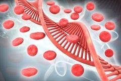3d ha reso l'illustrazione di Digital di DNA e dei globuli a colori il fondo royalty illustrazione gratis