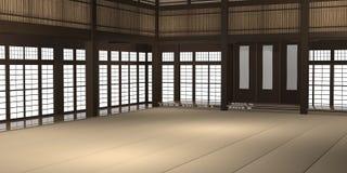 3d ha reso l'illustrazione di un dojo o di una scuola tradizionale di karatè con le finestre della stuoia e della carta di riso d Immagine Stock Libera da Diritti