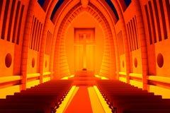 3D ha reso l'illustrazione di un interno della cattedrale Immagini Stock