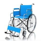 sedia a rotelle blu 3d su fondo bianco Fotografia Stock Libera da Diritti