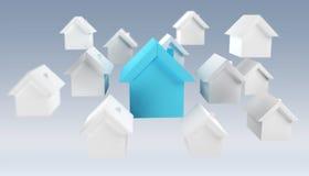 3D ha reso le piccole case bianche e blu Immagini Stock