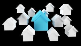 3D ha reso le piccole case bianche e blu Immagine Stock Libera da Diritti
