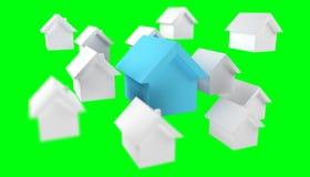 3D ha reso le piccole case bianche e blu Fotografia Stock