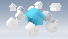 3D ha reso le piccole case bianche e blu Fotografia Stock Libera da Diritti