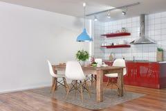 3d hacen - la cocina moderna interior con comedor Imagenes de archivo