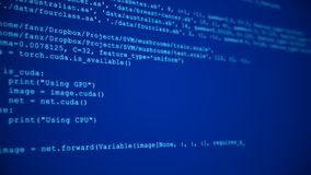 3D Hacking code data flow stream on blue. Screen with typing coding symbols stock image