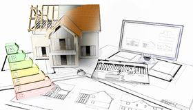 3D half built house on plans with half in sketch phase. 3D render of a half built house on plans with half in sketch phase Royalty Free Stock Image