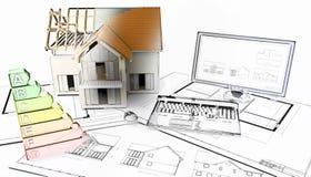 3D half gebouwd huis op plannen met de helft in schetsfase Vector Illustratie