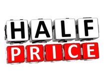 3D Half Price Button Click Here Block Text. Over white background Stock Photos