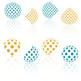 3D  halftone spheres. Set of abstract backgrounds. Dotted Stock Photos