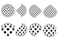3D halftone wektorowe sfery abstrakcjonistyczni ustalić tła Zdjęcia Royalty Free