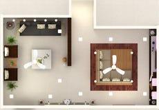 3D Hall Interior-ontwerp hoogste mening Stock Foto