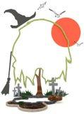 3D Halloween-achtergrond in het achtervolgen van kerkhof royalty-vrije illustratie