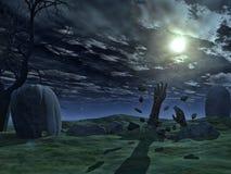 3D Halloween-achtergrond met zombiehanden Royalty-vrije Stock Afbeeldingen
