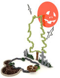 3D Halloween background decoration in haunting graveyard with Ja Stock Images