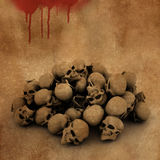 3D Halloween background with pile of skulls on bloody grunge Royalty Free Stock Images