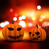 3D Halloween background with pumpkins on a bokeh lights background Royalty Free Stock Photography