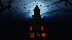 3D Halloween background with pumpkins and spooky castle Royalty Free Stock Photo