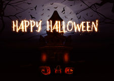 3D Halloween background with pumpkins and spooky castle Stock Photography