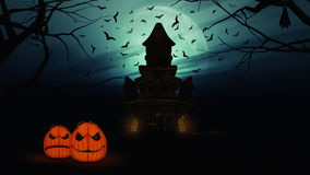 3D Halloween background with spooky castle and pumpkins Royalty Free Stock Photo