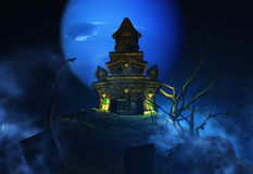 3D Halloween background with spooky castle Stock Photos