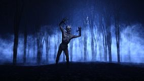3D Halloween background of a zombie emerging from a foggy forest Royalty Free Stock Photography