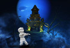 3D Halloween background with zombie and spooky castle Stock Image
