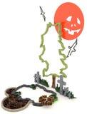 3D Halloween-decoratie als achtergrond in het achtervolgen van kerkhof met Ja stock illustratie