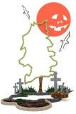 3D Halloween-decoratie als achtergrond in het achtervolgen van kerkhof met Ja vector illustratie