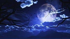 3D Halloween-landschap met bomen tegen een maanbeschenen hemel Stock Fotografie