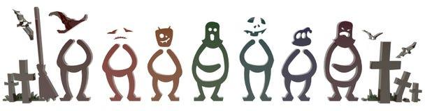 3D Halloween-mensen en spooksymbool stock illustratie