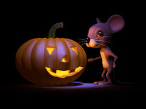 3d Halloween mouse scard by a pumpkin Royalty Free Stock Photo
