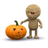 3d Halloween mummy with pumpkin Royalty Free Stock Images