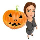 3D Business woman with a big pumpkin. Halloween vector illustration