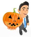 3D Businessman with a big pumpkin. Halloween. 3d halloween people illustration. Businessman with a big pumpkin. Halloween. White background Stock Photos