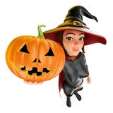 3D Witch with a big pumpkin. Halloween Vector Illustration